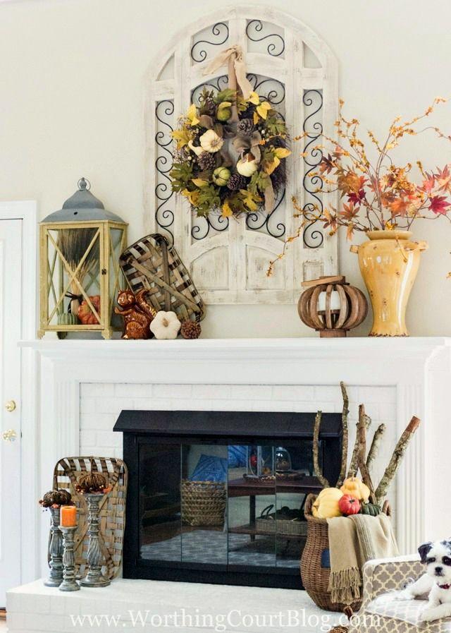 My Fall Mantel Fireplace Mantel Decorations Farmhouse Mantle Decor