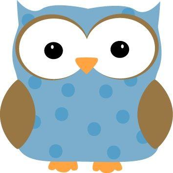 Blue Polka Dot Owl Clip Art -