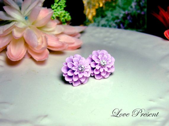 Grand Violet Pompon Daisy Tansy Flower Earrings by LoLoJewelryBox, $5.90