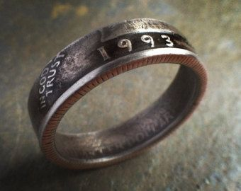 1993 Quarter Ring With Patina 21st Birthday Gift Coin Jewelry