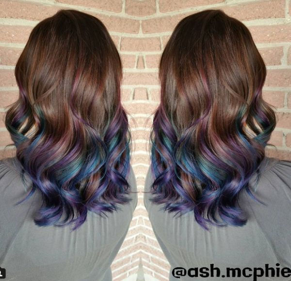 Rainbow Oil Slick Hair In Turquoise Blue And Midnight Purple