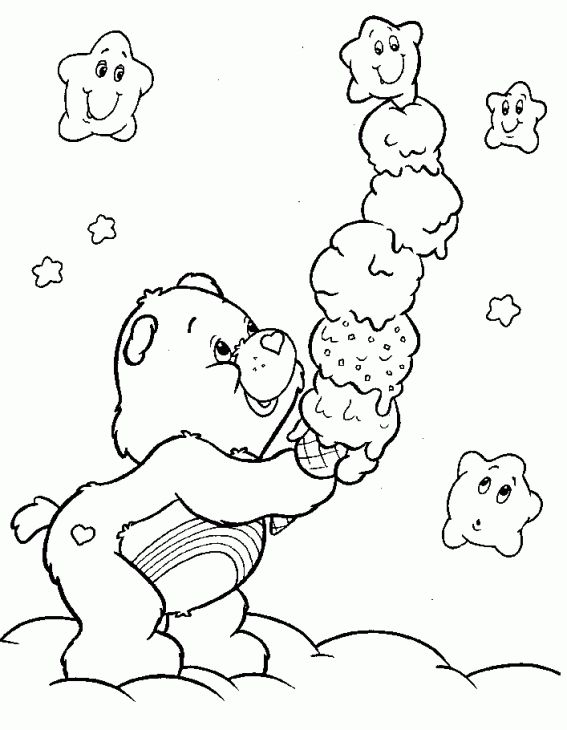Cheer Bear Holding Ice Cream In Care Bears Coloring Page Printable