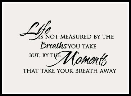 Life Moments Life Is Not Measured By The Breaths You Take But By