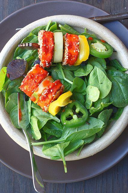Spicy Paneer(cheese) tikka-with Yogurt Mint Sauce #tikka #vegetarian