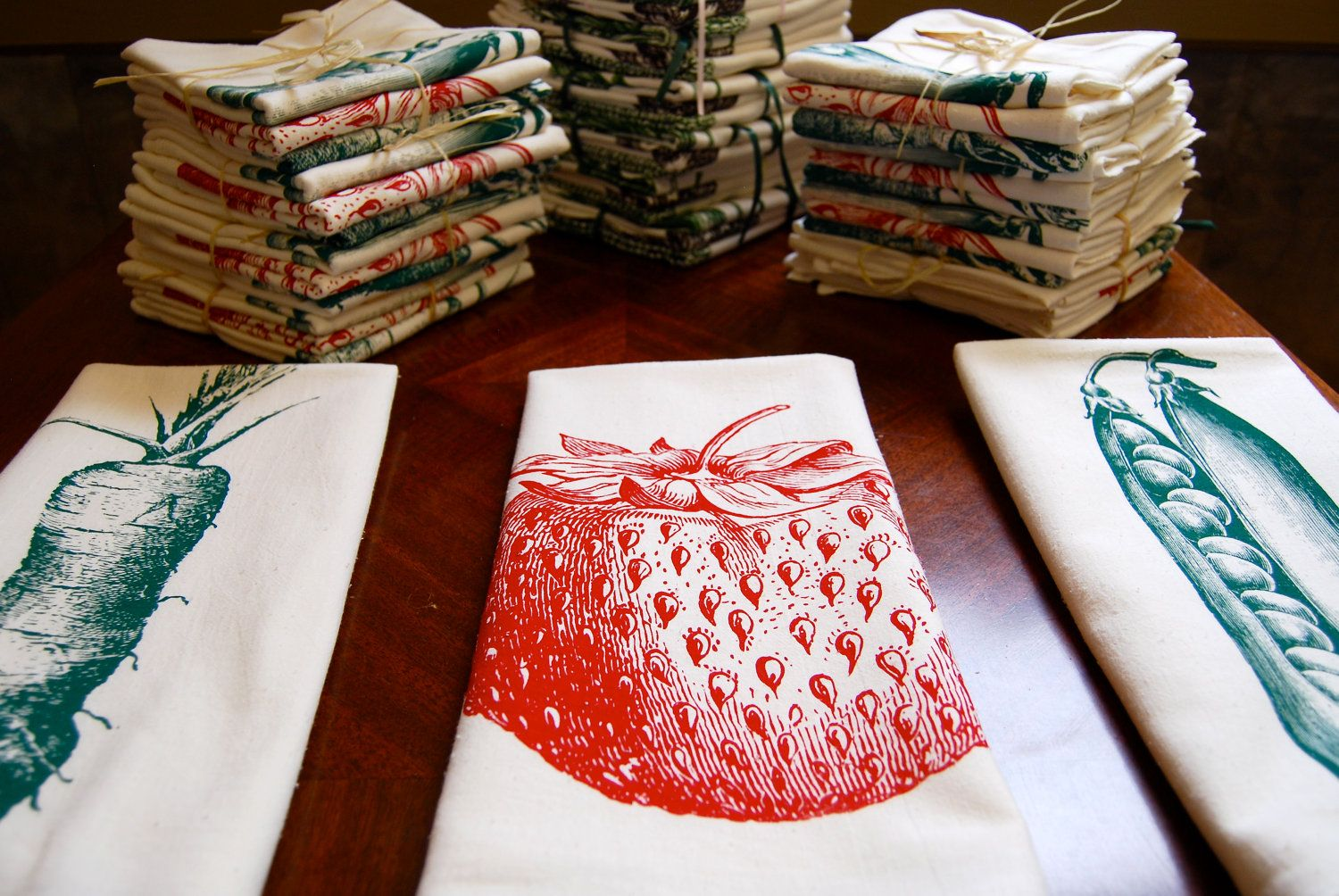 Screen printed flour sack towels by Milwaukee based Orchard
