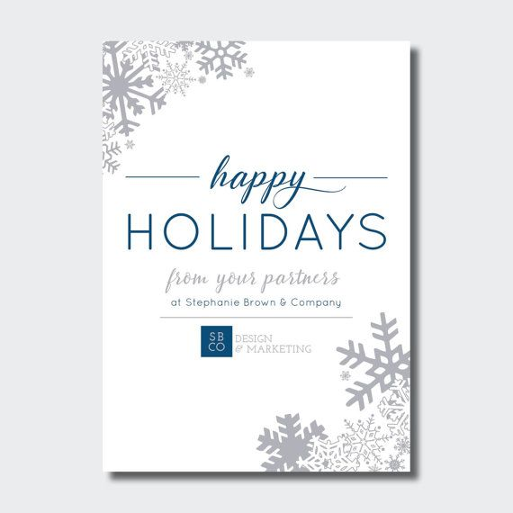 Happy Holidays Business Card Corporate Winter Holiday Neutral Client Christmas Card Blue And Silver Holiday Business Holiday Cards Client Christmas Card Corporate Christmas Cards