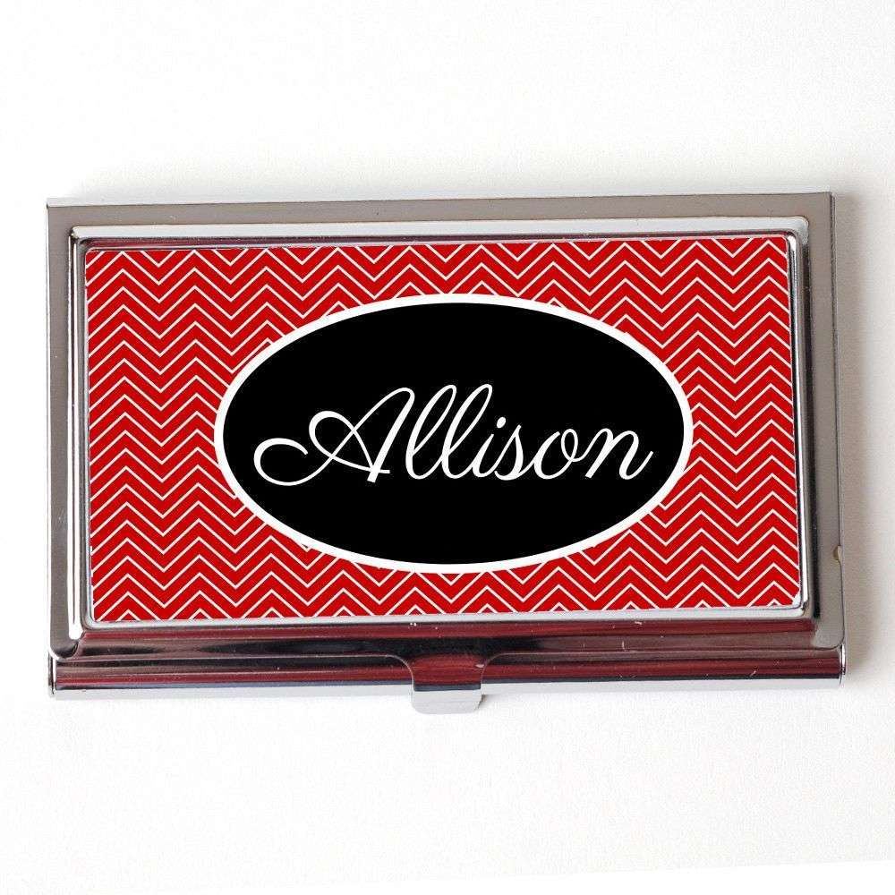 Personalized business card case red black chevron business card personalized business card case red black chevron business card case personalized business card case colourmoves