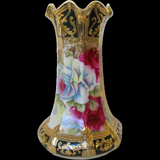 Antique Nippon Vase Roses Gold Encrusted Moriage Maple Leaf Mark