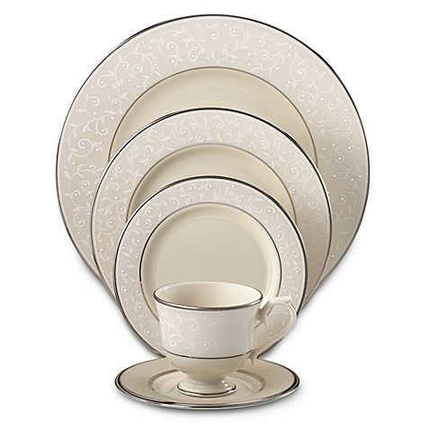 The graceful Lenox Pearl Innocence collection will bring understated elegance to your table. This sophisticated, formal dinnerware features a creamy white-on-ivory floral pattern accented with pearl white, hand-enameled dots and precious platinum.