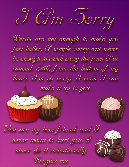 An elegant I am sorry ecard for your best friend with a sweet – Apology Card Messages