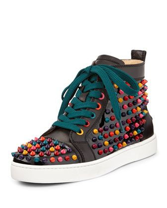 competitive price db95a 57bf4 Louis Spikes Calfskin High-Top Sneaker, Black Multi by ...