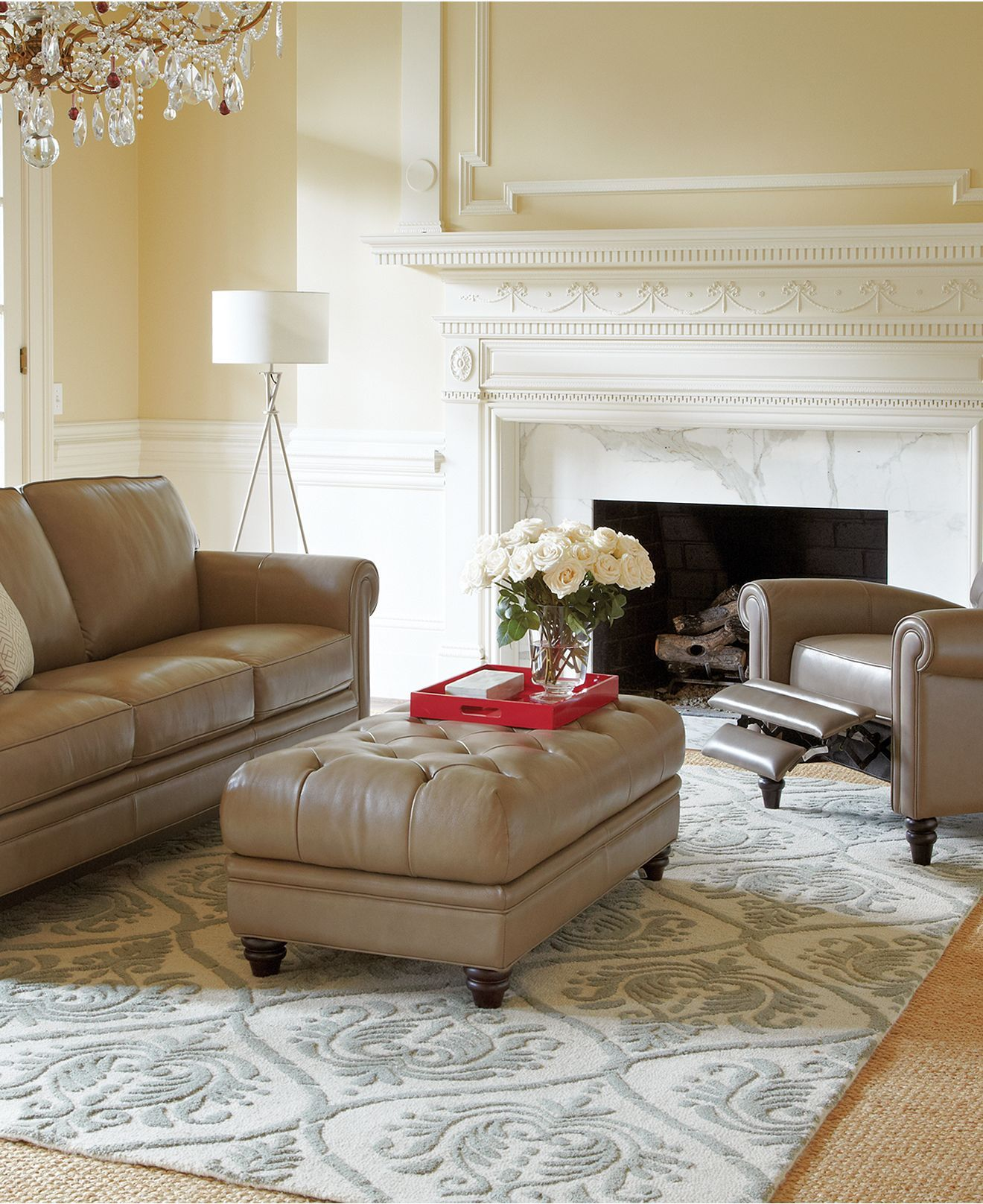 Martha Stewart Bradyn Leather Sofa Collection Created For Macy 39 S Leather Living Room