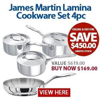 169 00 Save 450 00 73 James Martin 3pc Saucepan Set With