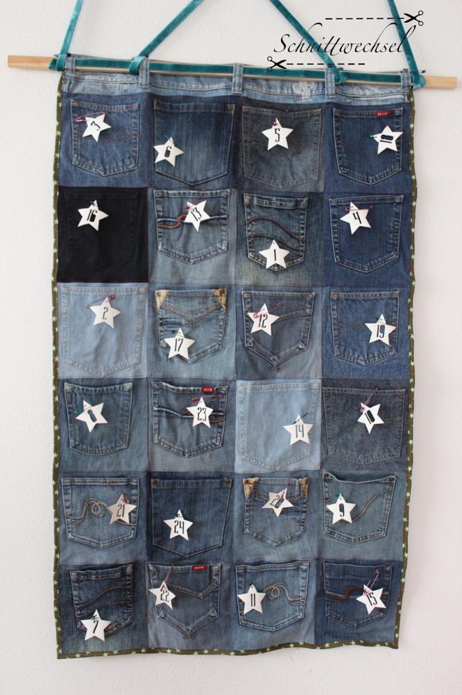 Advenskalender aus alten Jeans