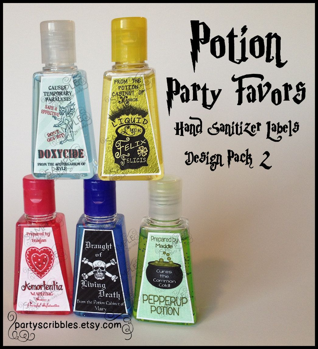 5 Wizard Potion Party Favor Labels Pack 2 5 00 Via Etsy