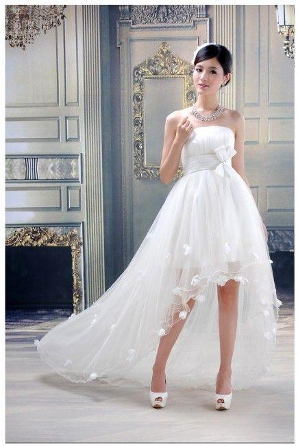 Vestidos de novia cortos y largos atras