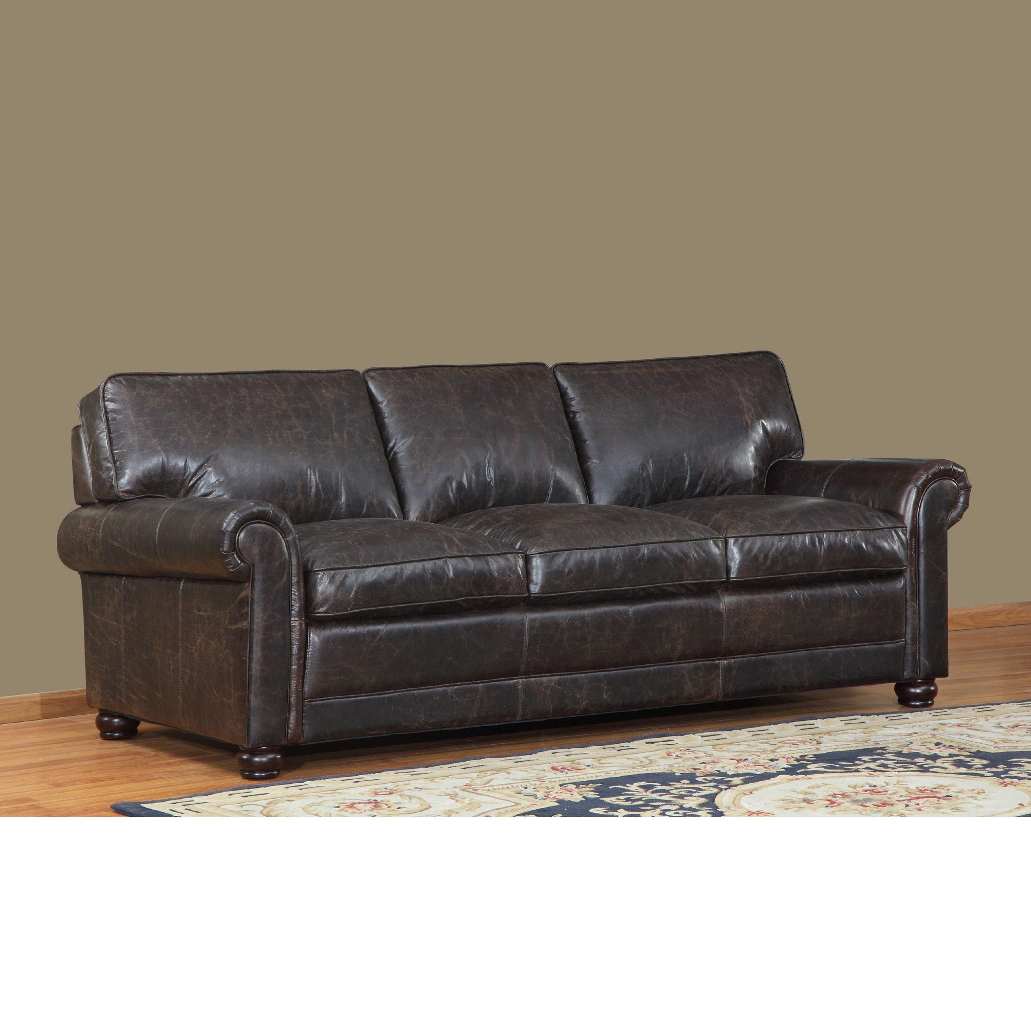 Genesis Brown Leather Cowhide Sofa Brown Leather Sofa with Bun Feet