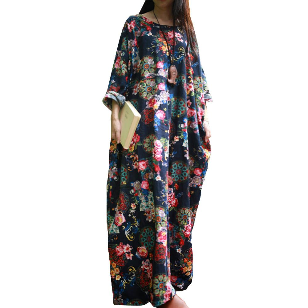 c93324f856 ... China dress vintage Suppliers  SCUWLINEN 2017 Spring Autumn Dress  Vintage Print O-neck Long Sleeve Plus Size Robe Loose Casual Maxi Linen  Women Dresses