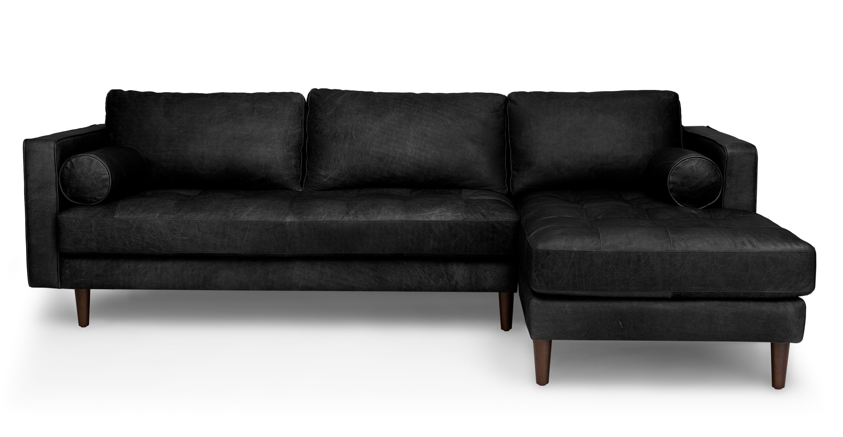 Black Leather Right Sectional Sofa Tufted