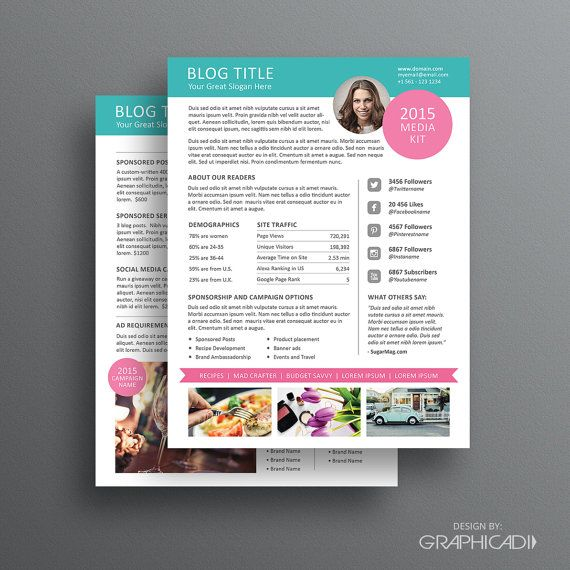 blog media kit template ad rate sheet template par