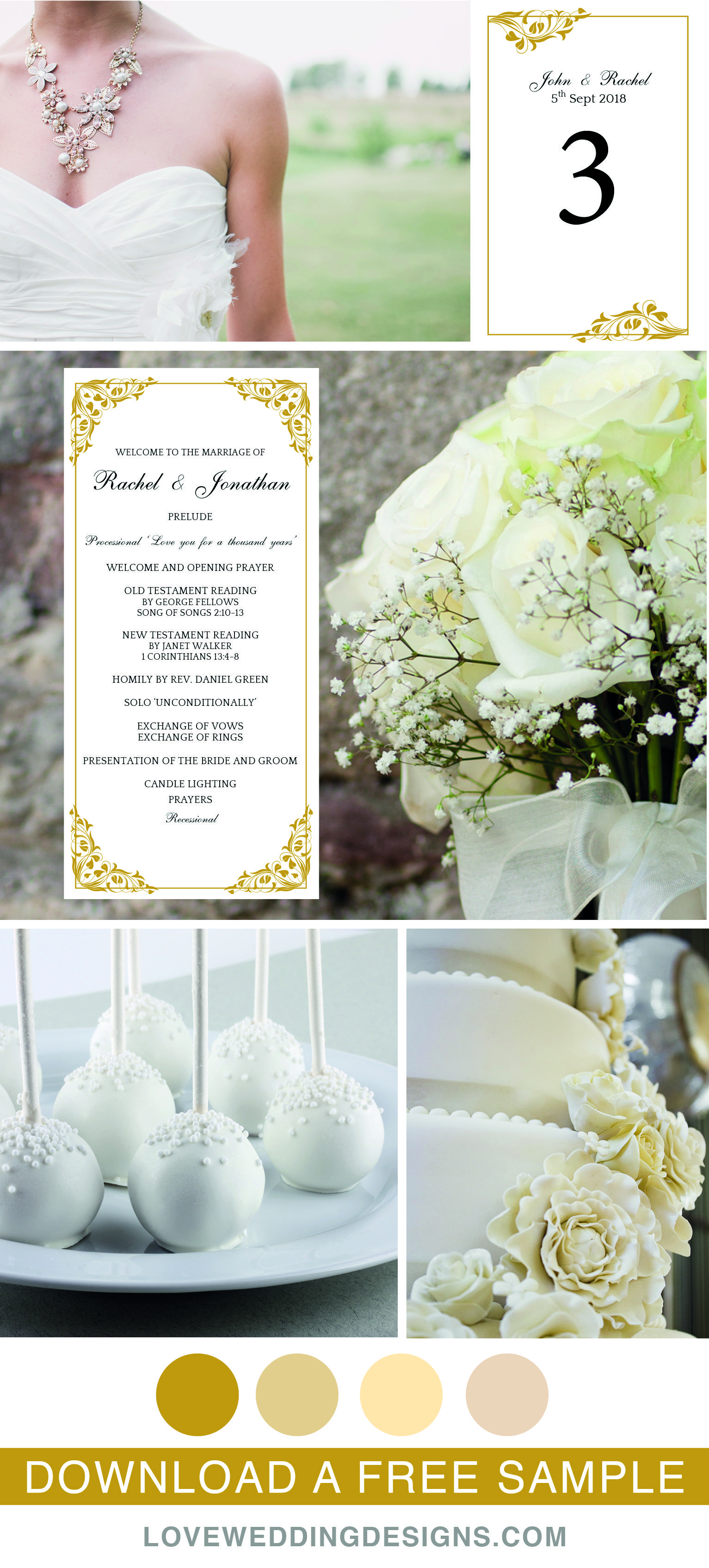Elegant And Romantic Wedding Templates Great For A Gold Wedding