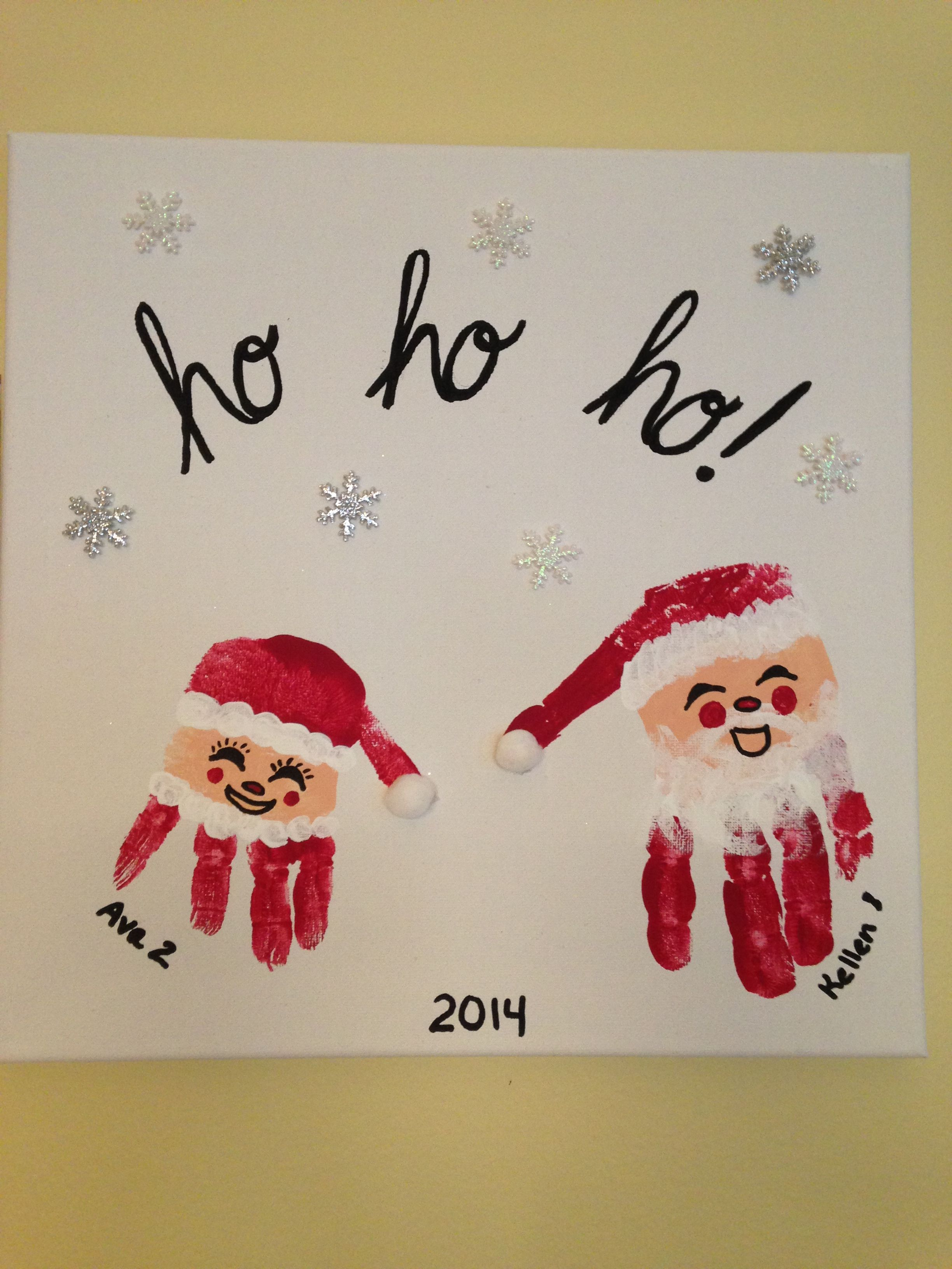 Santa and Mrs Claus handprint craft I love how this turned out