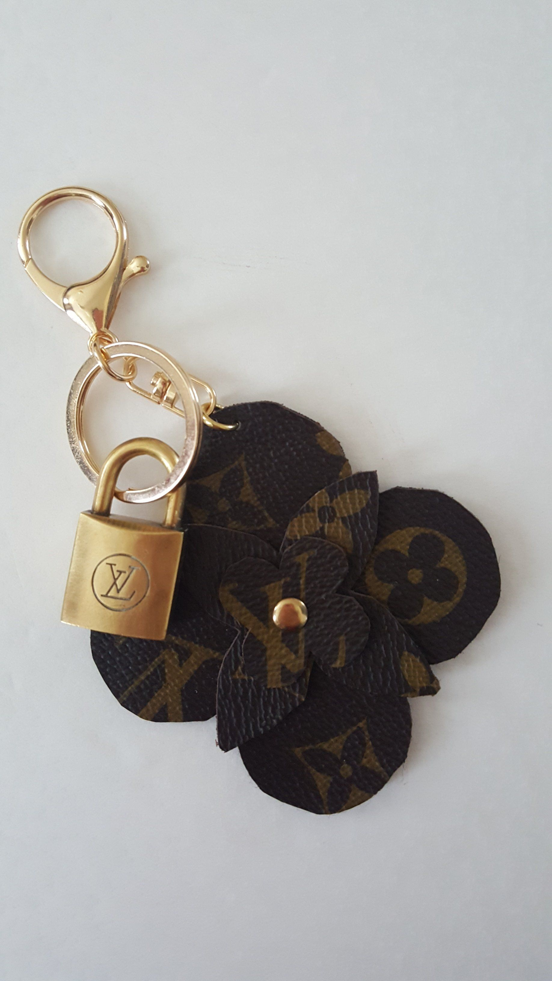 58a3422fa47a Louis Vuitton (reworked) Bag Charm | Key Ring w/ vintage lock | Keychain |  Handmade from Repurposed LV Canvas