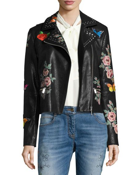 966f2e108 BAGATELLE PAINTED FLORAL LEATHER JACKET W/ EMBROIDERED PATCHES ...