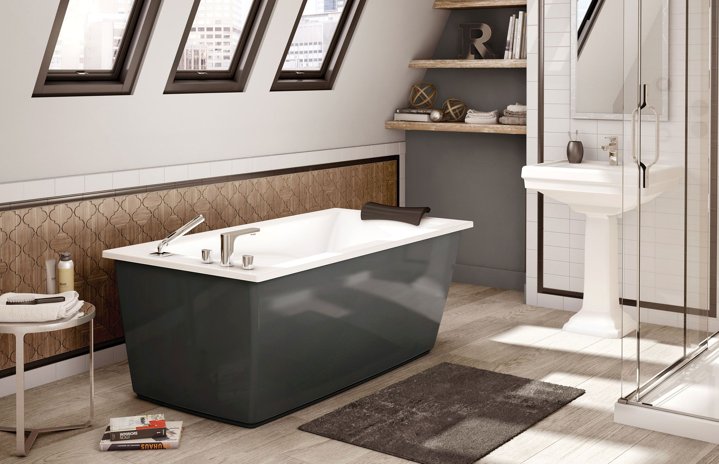 MAAX Optik F 6032 Thunder Gray Freestanding bathtub