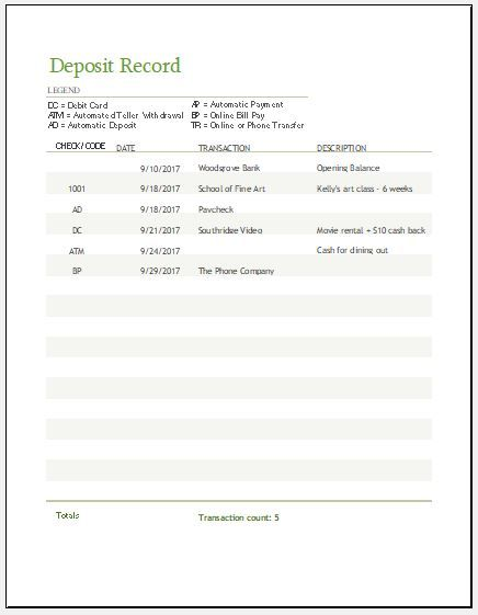 Deposit Record Template Download Free At Httpxltemplates