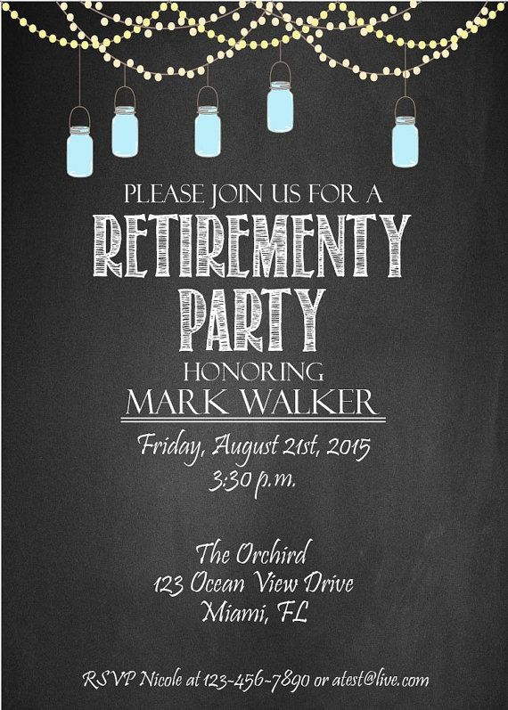 printable retirement invitation custom invite by chalkboarddesign