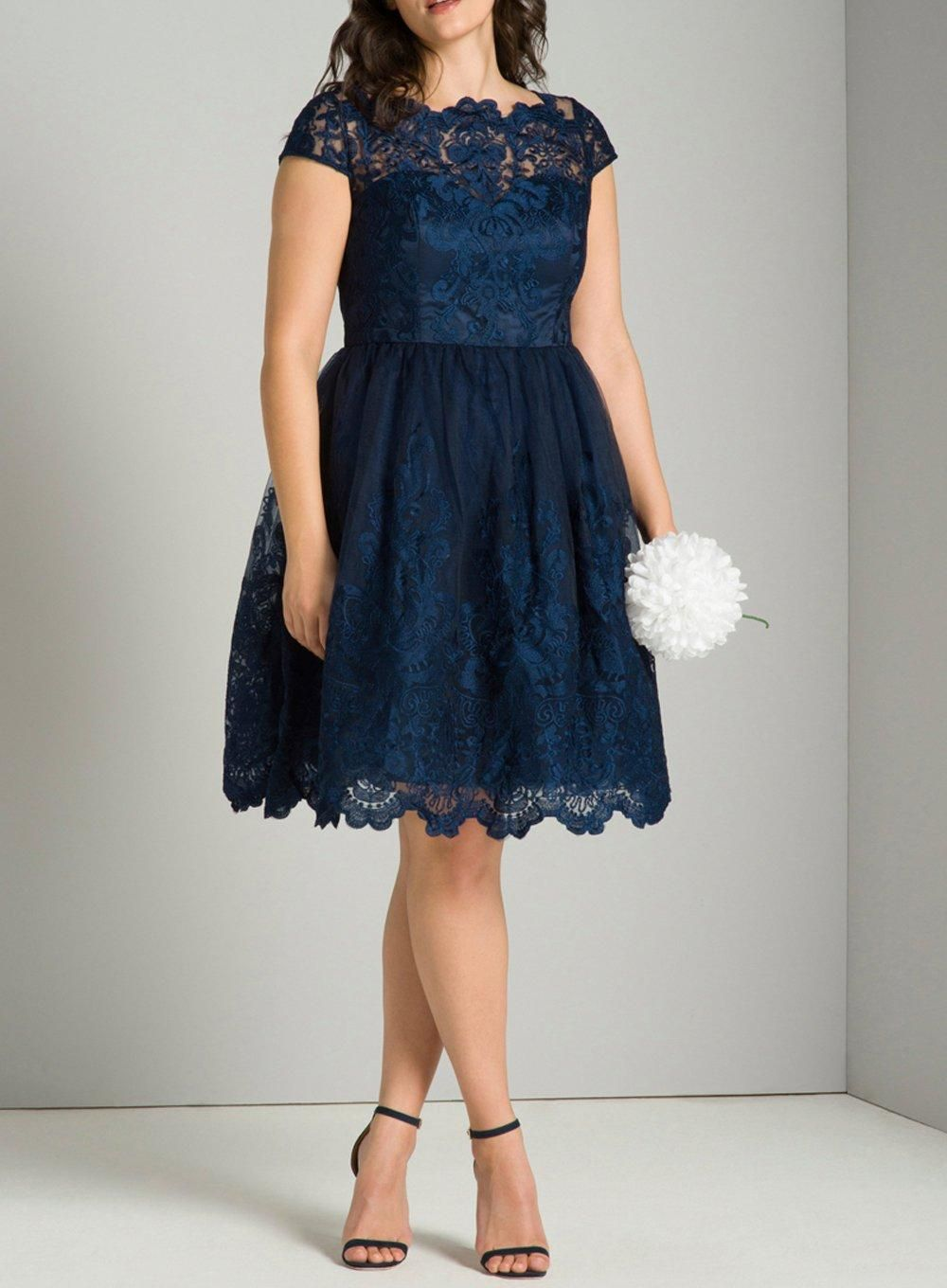 Love Label Scallop Detail Cobalt Blue Lace Skater Party Dress Prom 10