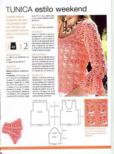 5ff8cf2d6 Patrones Crochet: Jersey Manga Volante Patron | Crochet Clothes ...