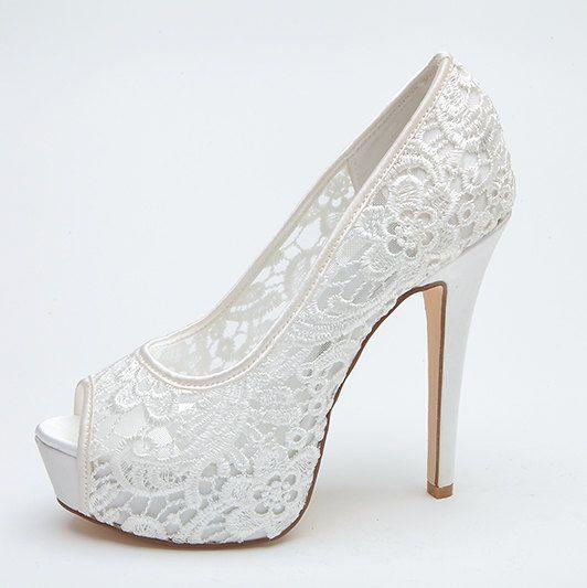 see through lace bridal wedding shoes platform peep