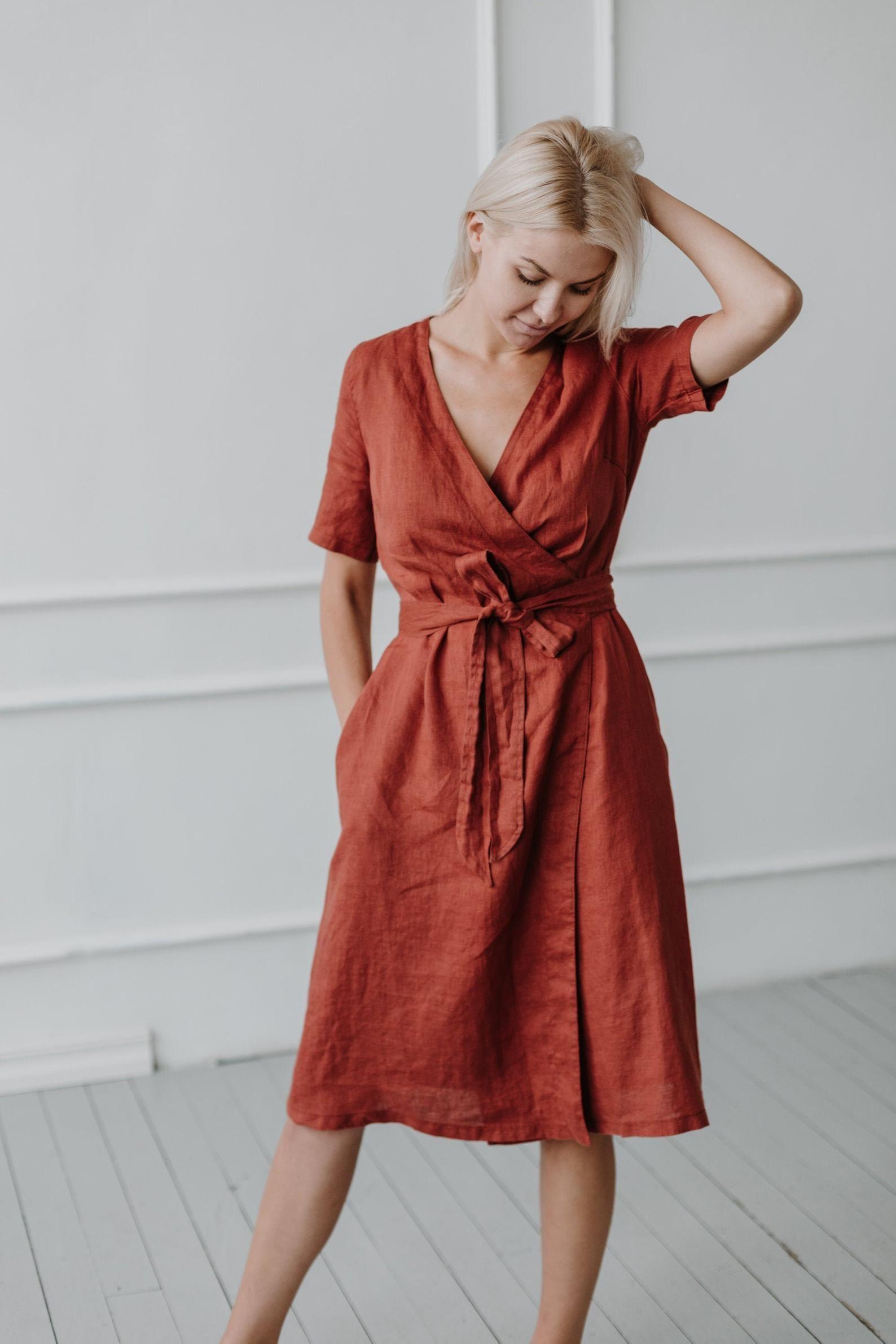 100% Linen Wrap Dress/ Linen Dress Plus Size/ Loose Linen Dress/ Flax Soft Dress/ Linen Clothing/ Maternity Dress / Casual