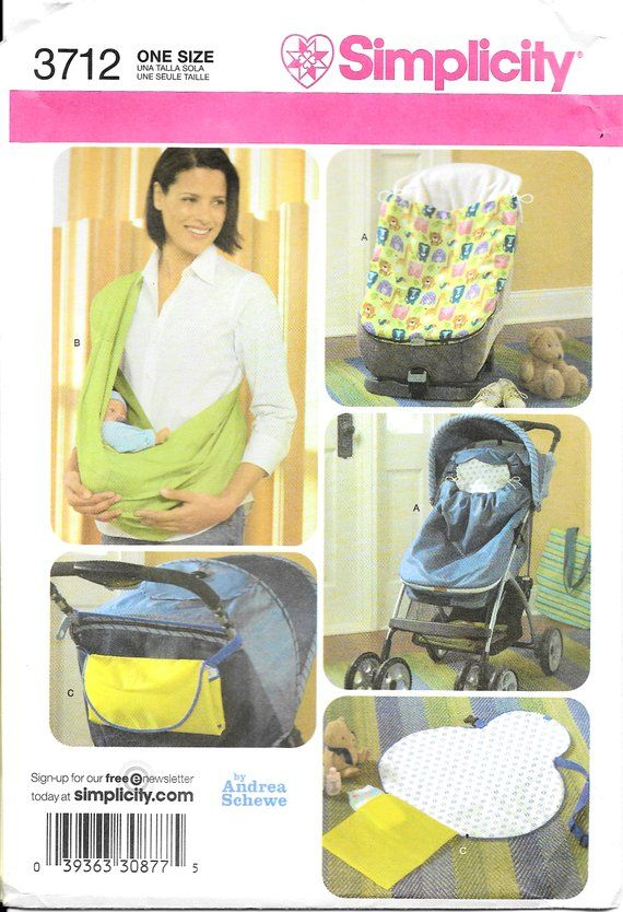 Simplicity 3712 Baby Accessories Stroller Car Seat Bunting Sling