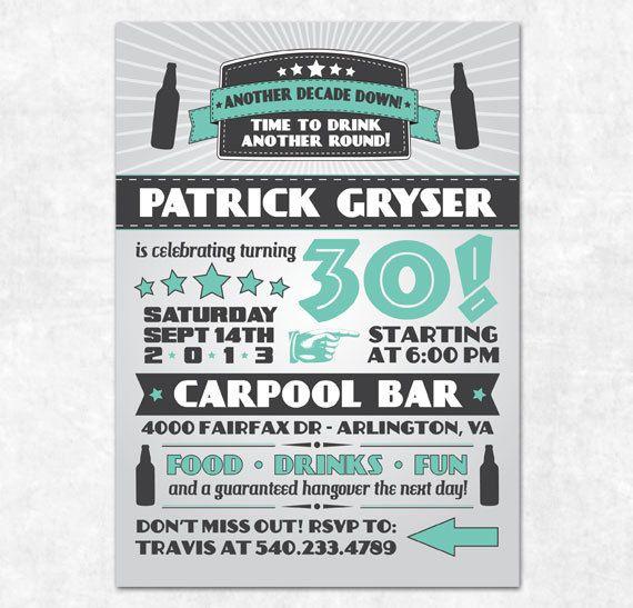 Birthday Pub Crawl Invitation Bar Crawl Printable Invitation Beer