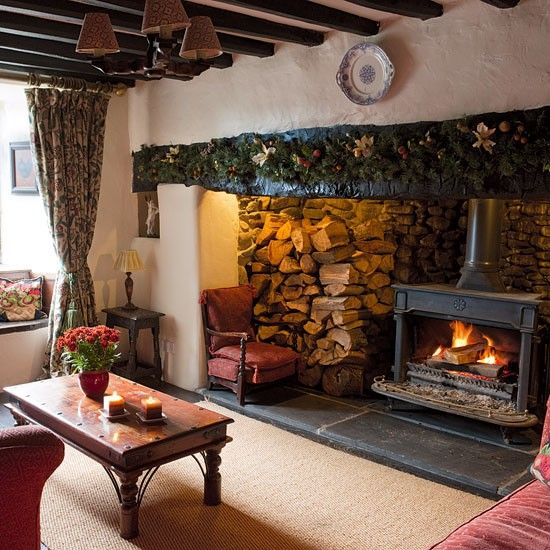 Living room fireplace   Welsh farmhouse   Country Homes & Interiors house tour   PHOTO GALLERY   Housetohome