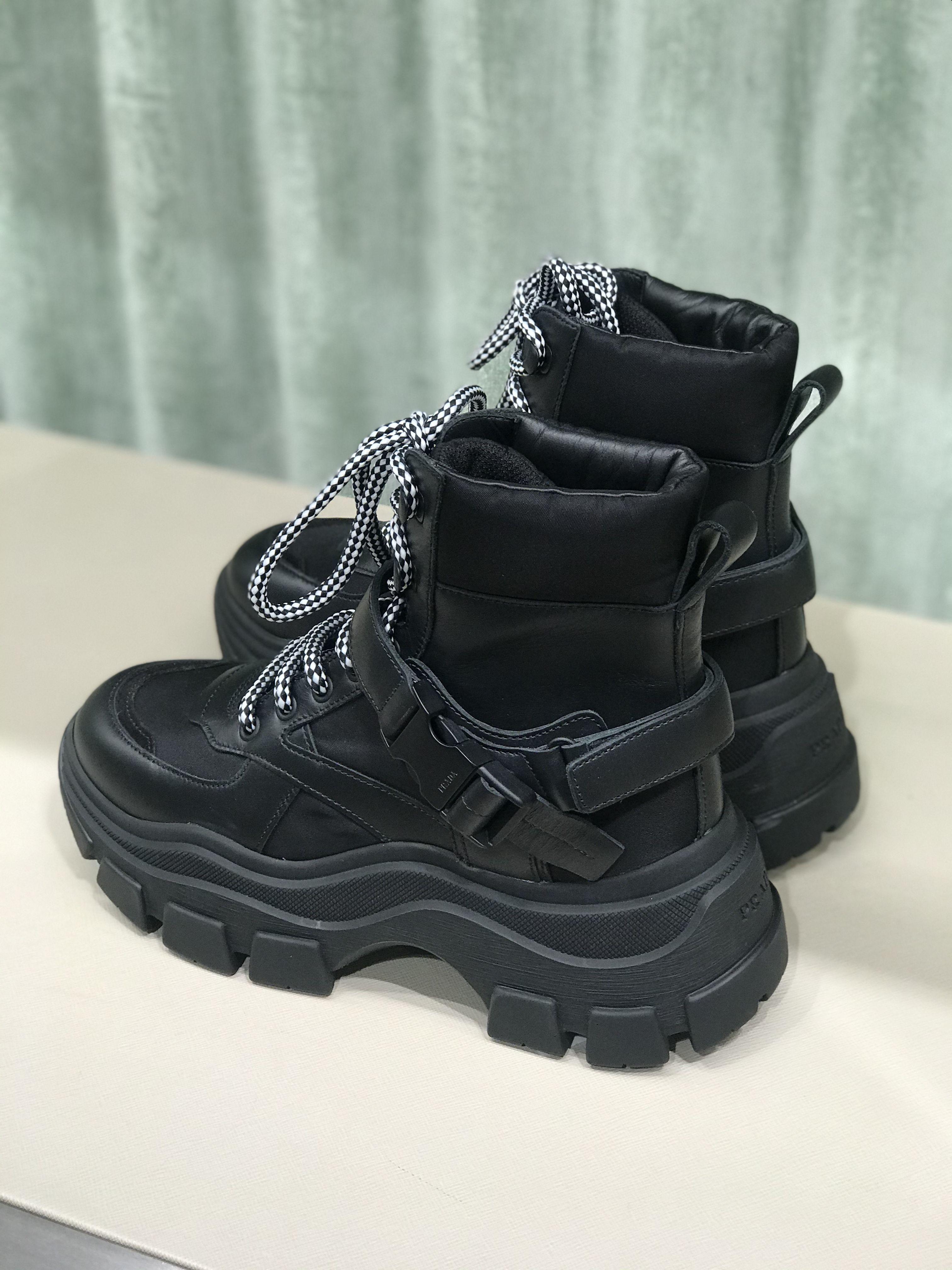 Prada black block high-top sneakers