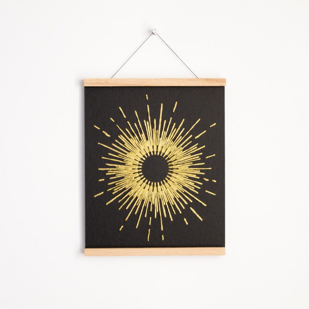Midcentury Inspired Gold Star Burst Poster Embroidered Wall Hanging Framed Modern Home Decor Bright Star Magnet Woo Poster Hanger Copper Stars Wall Hanging