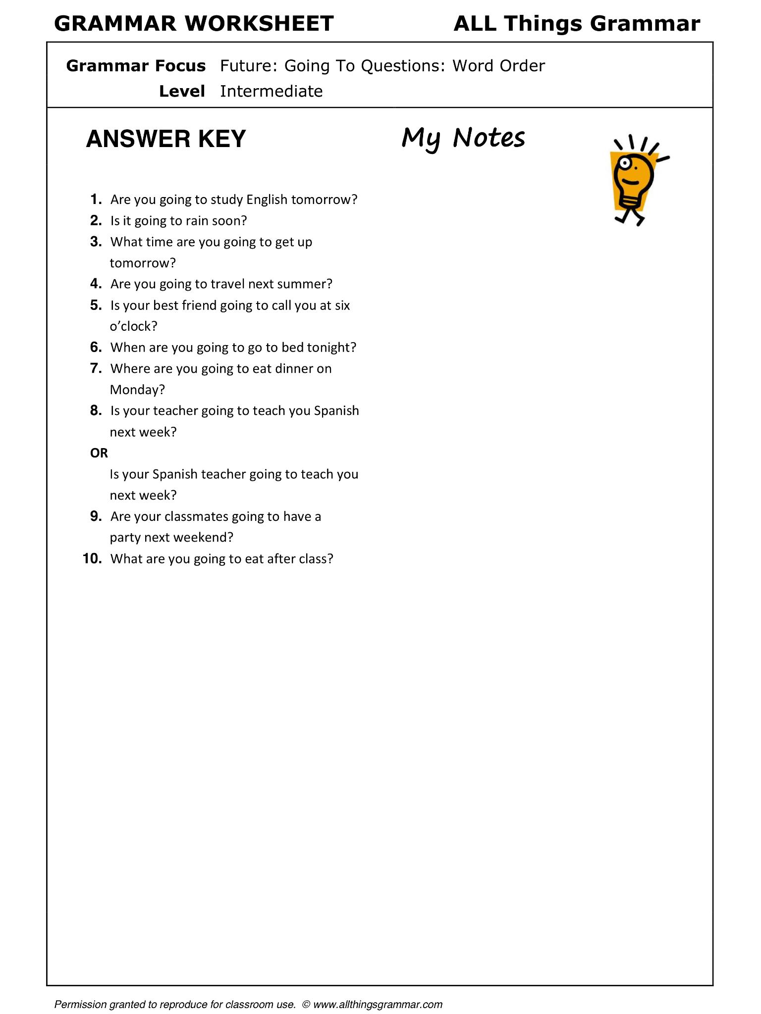 worksheet Word Order Worksheets english grammar going to questions word order www allthingsgrammar com word