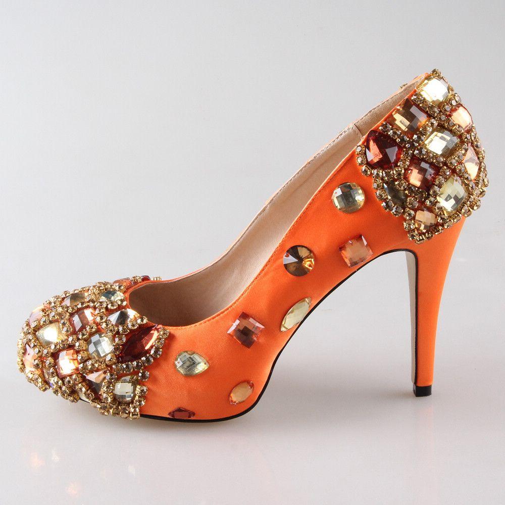 Creativesugar Handmade Orange Crystal Rhinestone Beading Woman