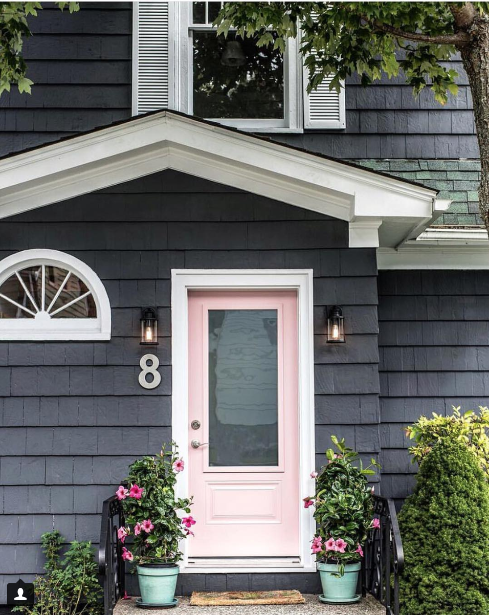 Exterior Home Design Blush Pink Door With Noble Grey And Nova White Paint From Dulux Pink House Exterior Exterior House Colors Cottage Exterior