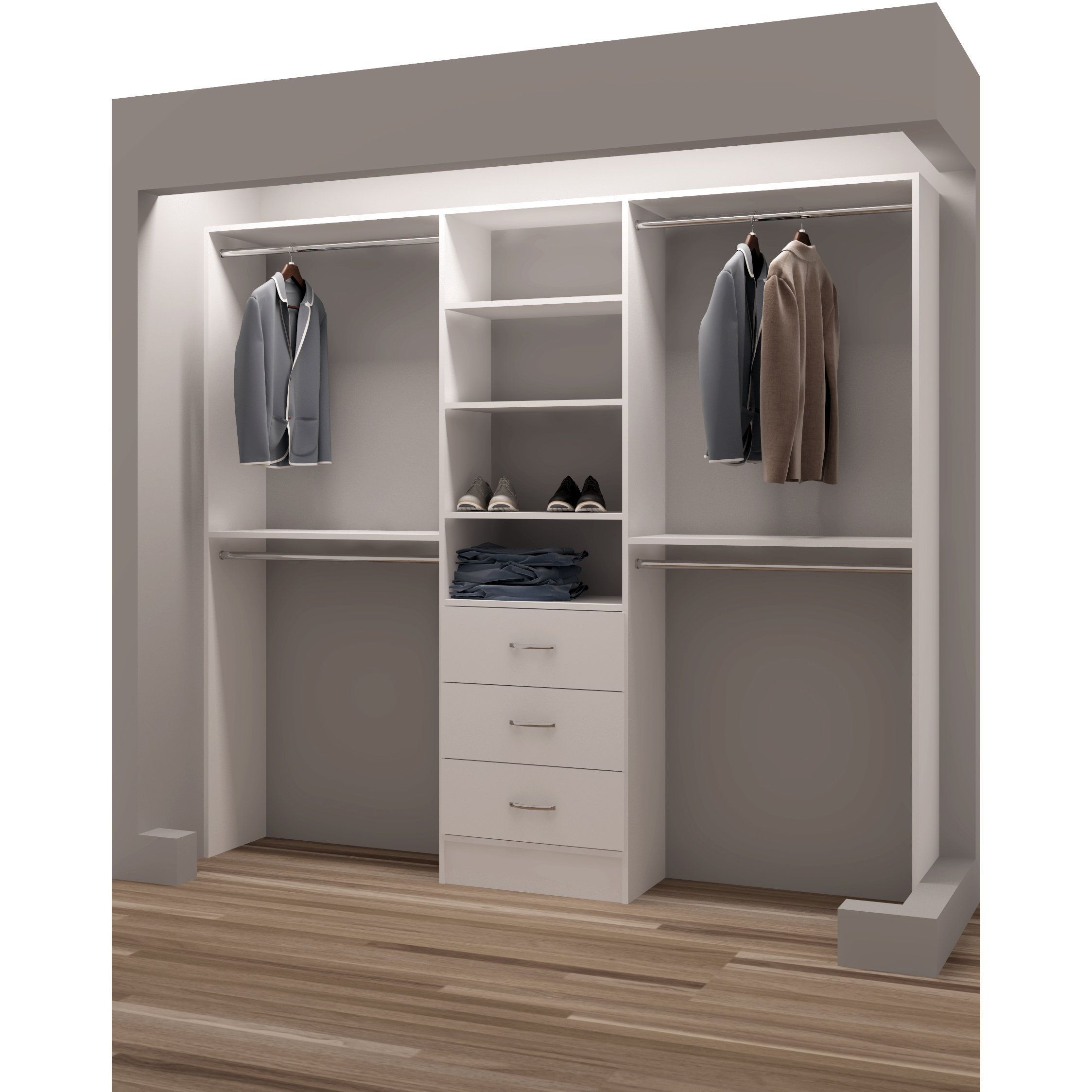 TidySquares Classic White Wood 87-inch Reach-in Closet Organizer ...