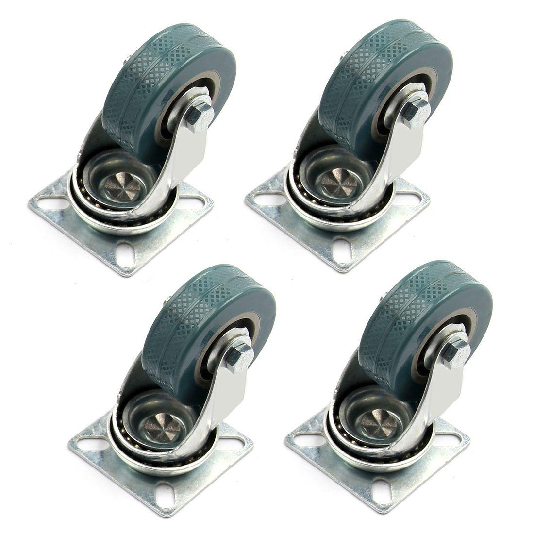 4pcs 75x21mm Heavy Duty Rubber Swivel Castor Wheels Trolley