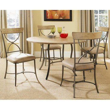 Charleston 5 Piece Round Wood and Metal Dining Table Set with X