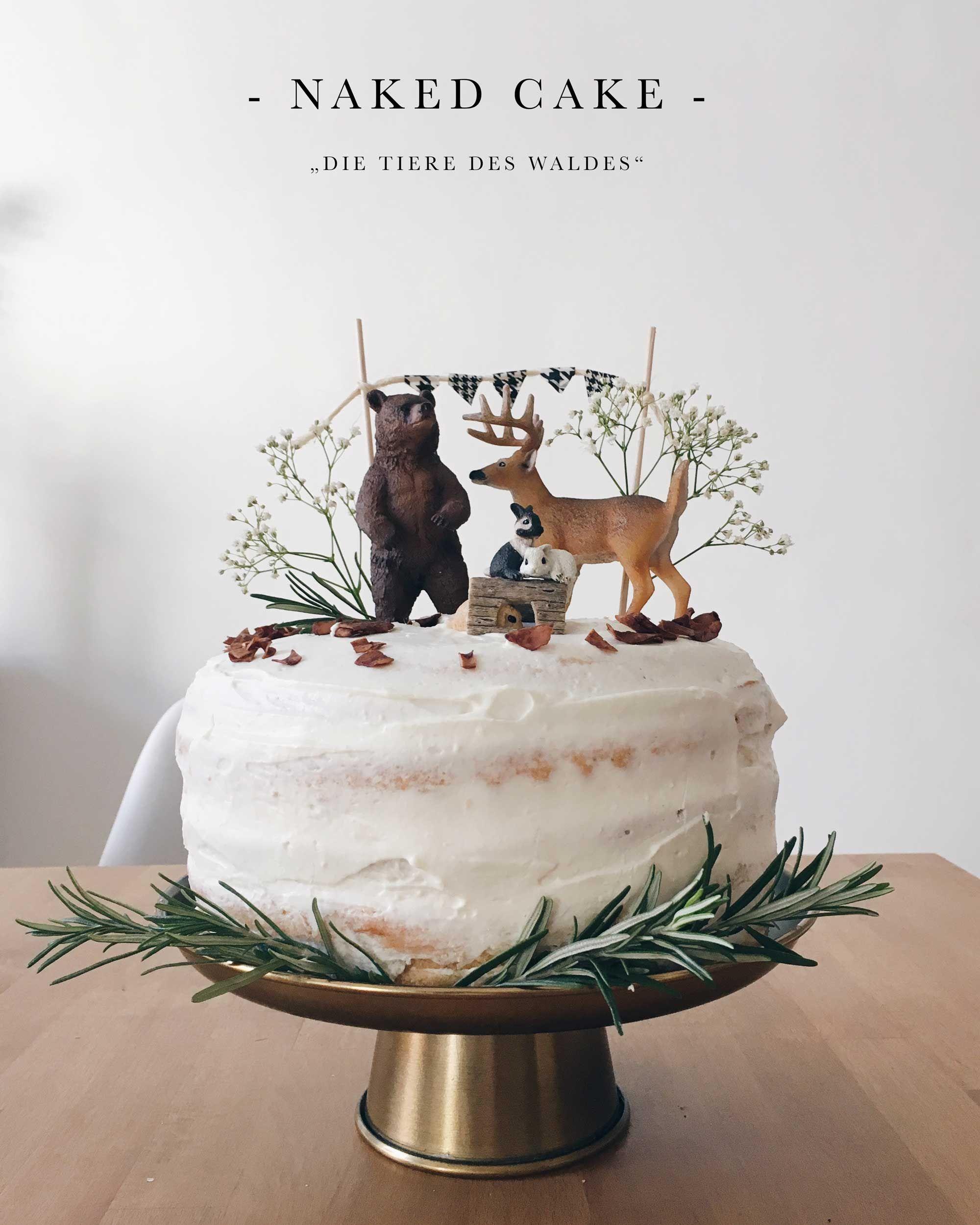 """Geburtstagstorte """"Die Tiere des Waldes"""" Naked Cake mit Mascarpone"""