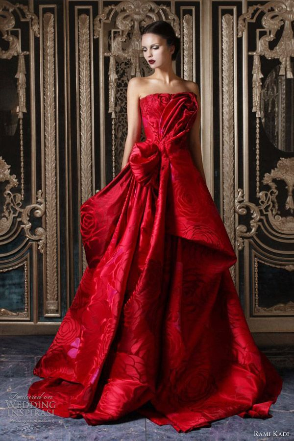 the print plus the RED just made it special. rami kadi couture fall 2012 2013 red silk jacquard draped ball gown