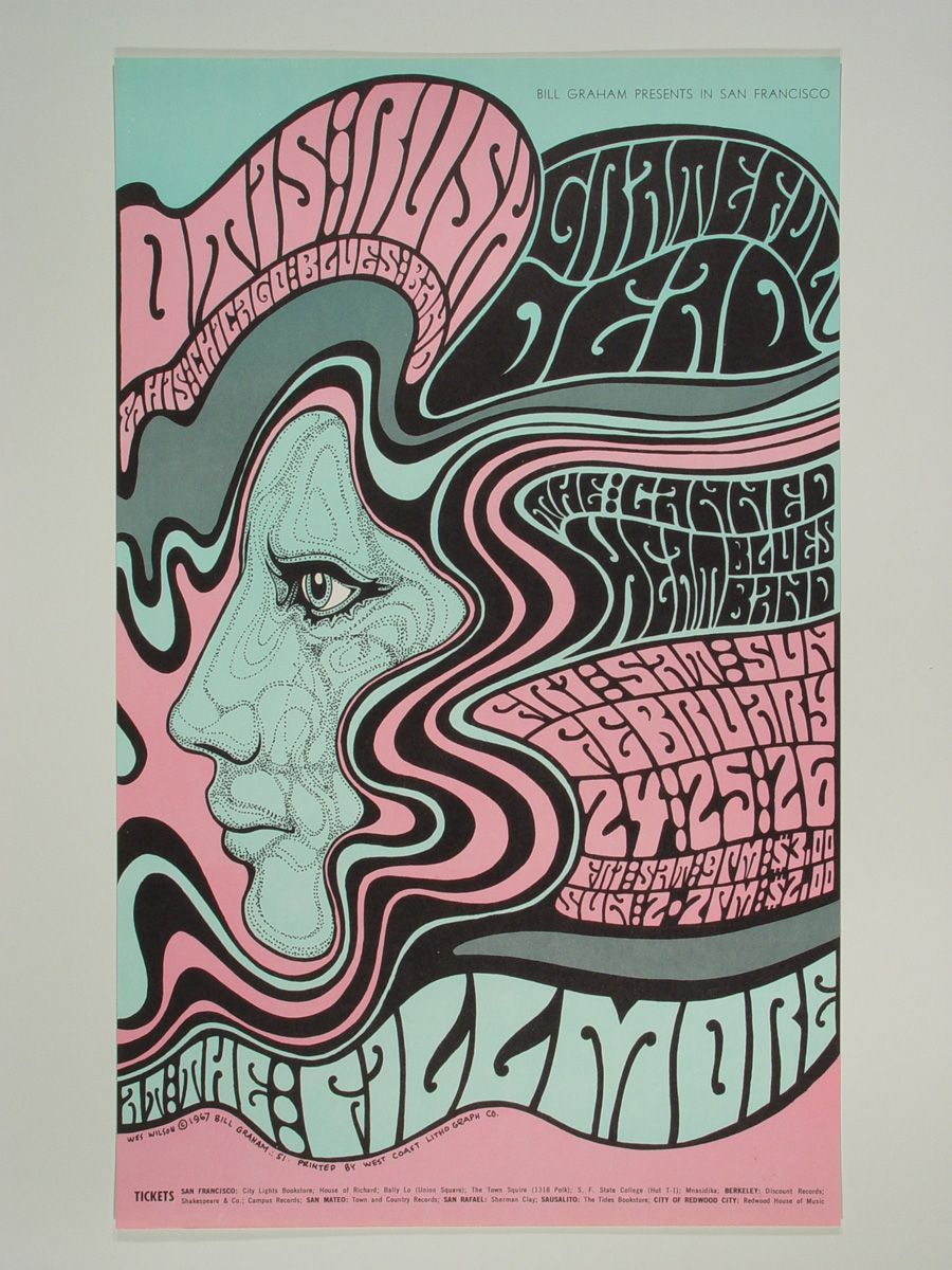 El origen de los carteles psicod licos de los 60 bill graham grateful dead and gig poster - Carteles retro ...