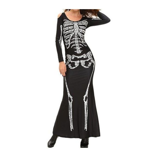 Rotita Skeleton Print Cold Shoulder Black Halloween Dress 34